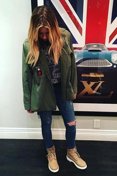 Ashley Benson wearing Jac Vanek I Hate Everyone Vintage Army Jacket, Timberland Icon 6 Inch Premium Boots in Beige Nubuck and Led Zeppelin United States of America 1977 Tee