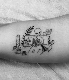 Alien reading a book on bed arm tattoo by seanfromtexas