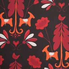 Swedish Black/Red Floral Woven Cotton Print