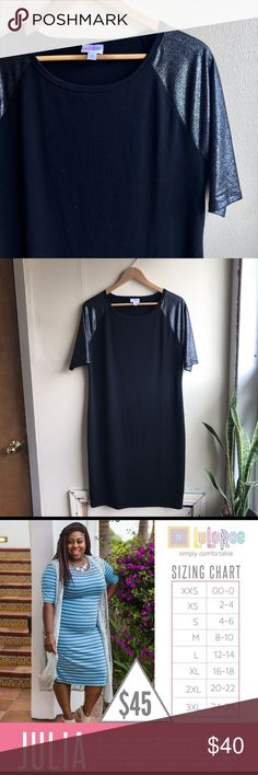 Like new▪️Elegant Collection LuLaRoe Julia (plus) Size XL. From the Elegant Collection, this black stretchy Julia has black/silver metallic sleeves for that fun night on the town look. I've included the LuLaRoe sizing chart for your reference. Worn once for New Years and washed according to LuLaRoe instructions. Please ask any questions you might have! LuLaRoe Dresses Midi