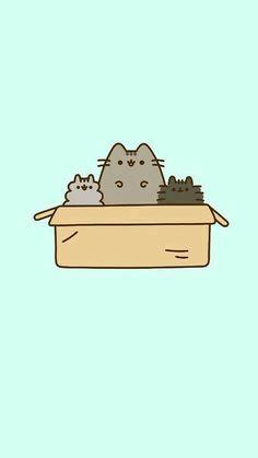 Pusheen family In a box Gato Pusheen, Pusheen Love, Cute Kawaii Drawings, Cute Animal Drawings, Cat Wallpaper, Kawaii Wallpaper, Crazy Cat Lady, Crazy Cats, Plan Image