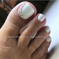 Pedicure Designs, Pedicure Nail Art, Toe Nail Designs, Pedicure Ideas, White Pedicure, White Toenail Designs, Gel Nail, Nail Ideas, Pretty Toe Nails