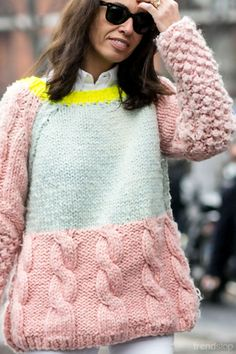 Pink, light aqua blue and bright yellow combine for this chunky knit. Popcorn stitch sleeves and chunky cable knit on this sweater. Trendstop - trend analysis for fashion and creative professionals