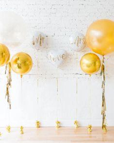 Gold & White MR & MRS Individual Balloons Backdrop — Paris312 Bridal Balloons, Glitter Balloons, Gold Confetti Balloons, White Balloons, Balloon Wedding, Balloon Backdrop, Balloon Decorations, Engagement Photo Props, Wedding Engagement