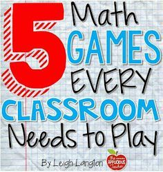 5 Math Games Every Classroom Needs to Play - Awesome guest post and freebie by Leigh from the Applicious Teacher with 5 terrific (and easy) math games. Games make math more fun! Math Classroom, Kindergarten Math, Math Teacher, Teaching Math, Math Math, Classroom Layout, Kids Math, Math Multiplication, Classroom Freebies