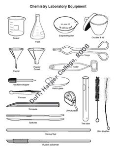 Learning the English words for laboratory equipment and