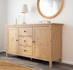 New IKEA HEMNES Sideboard light brown Solid wood has a natural feel