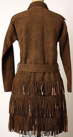 En 1953, Bonnie Cashin a fait Equipe avec l'Importateur de Cuir Philip Sills & Co, Pionnier de son Utilisation dans la Haute Couture - Robe Frangée - Daim Marron - 1967