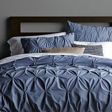 Organic Cotton Pintuck Duvet Cover + Shams - Steel Blue         this duvet cover with 2 king shams would be nice for our bedroom