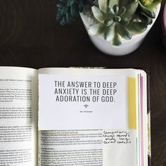 The answer to deep anxiety is deep adoration of Jesus Cool Words, Wise Words, Journaling, In Christ Alone, How He Loves Us, Just Dream, Jesus Freak, Walk By Faith, Christen