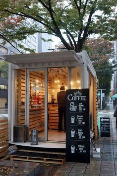 Small cafe design ideas business plan coffee shop bar very Café Container, Container Coffee Shop, Small Coffee Shop, Coffee Shop Design, Coffee Shop Japan, Opening A Coffee Shop, Cute Coffee Shop, Coffee Carts, Coffee Truck