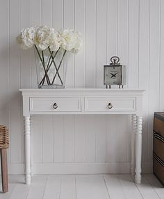 The White Lighthouse hallway furniture. New England 2 drawer white console table. Can be used in a kitchen, living room or hall table. White beach, Coastal and cottage furniture for home interiors. Small Hallway Furniture, Hall Furniture, Cottage Furniture, Living Room Furniture, White Furniture, Furniture Plans, Very Narrow Console Table, White Console Table, Hallway Console