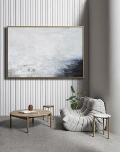 CZ ART DESIGN - Horizontal Abstract Landscape Art #XB124C. Original fine art abstract painting on canvas large wall art neutral colors.