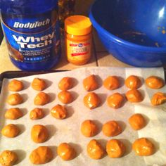 PROTEIN BALLS   Healthy, low-carb, high-protein snack to curb your candy appetite? Check this out!   Mix All Natural Peanut Butter (entire jar) & four scoops of low-carb protein powder. Roll contents into small balls... Stick them on parchment paper & place in the freezer!  Boom!  Done!
