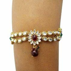 Traditional Wedding Wear Gold Tone CZ Armlet Indian Bridal Arm Bracelet Jewelry Armlet Bracelet Gift IBA. $25.99