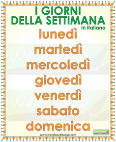 I giorni della settimana in italiano --  The days of the week in Italian