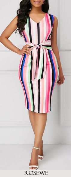 Tie Front Sleeveless Striped Sheath Dress