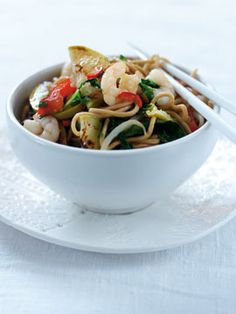 Bramley apple hot and sour noodles Prawn Pasta, Vegetable Stir Fry, Fried Vegetables, Red Chili, Egg Noodles, Apple Slices, Main Courses, Wok, Japchae