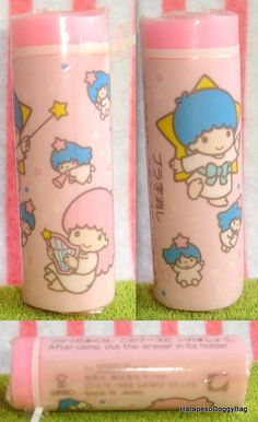 A vintage Sanrio Little Twin Stars stationery eraser / rubber with illustrations of Kiki and Lala. The kawaii fancy good item was made in 1986 in Japan.