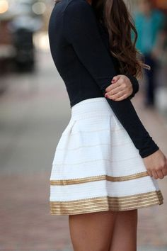 White skirt with gold trim❤