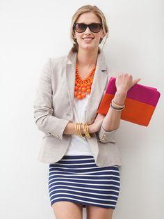 striped skirt + white top + neutral blazer + statement necklace