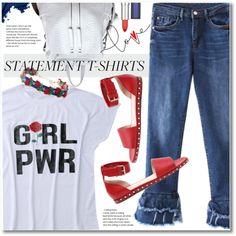 Statement T-Shirts by svijetlana on Polyvore featuring Valentino, Bobbi Brown Cosmetics, Maybelline, zaful and statementtshirts