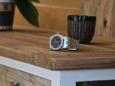 Audemars Piguet 15300 on a Riviera Maison furniture. The flowerpot was handmade by the mother of my wife.