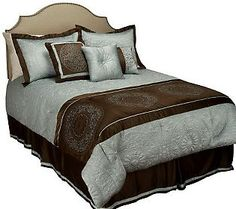 The opulent texture of the fabrics in this stunning comforter set is second only to the beauty of the design.