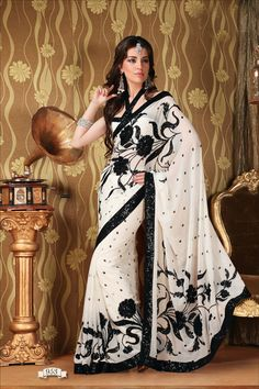 Buy Indian dresses online - the most fashionable Indian outfits for all occasions. Check out our new arrivals - the latest Indian clothes trending in Black And White Saree, Off White Saree, White Sari, Black White, Indian Attire, Indian Wear, India Fashion, Asian Fashion, Indian Dresses