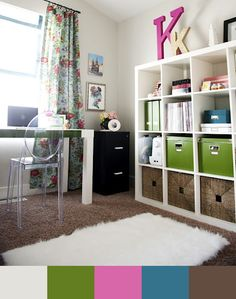 cute office design by 6th Street Design School For bedroom! And just the right initial:)  Love the big initials