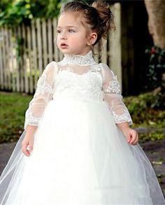edf7f1e92 Princess Flower Long Sleeve Appliques Ball Gown flowergirl Cute Girls 2016 First  Communion kids White bridal Dress