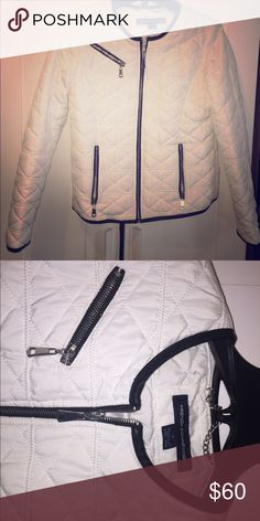 French Connection White Quilted Puffer Jacket Barely worn, white, quilted, puffer jacket for French Connection with black leather trim. French Connection Jackets & Coats Puffers