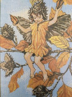 Lanarte linen cross stitch kit of the Beechnut Fairy by Cicely Mary Barker by KindredClassics on Etsy Cross Stitch Rose, Cross Stitch Kits, Nautical Pictures, Tapestry Kits, Cicely Mary Barker, Autumn Fairy, Cute Fairy, English Artists, Floral Garland