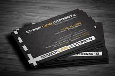 Premium Dream Line corporate business cards templates, print ready black PSD design in Adobe Photoshop.