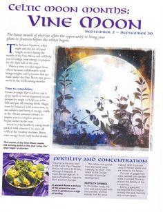 Moon:  Celtic #Moon Months: Vine Moon.