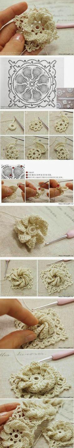 Grace y todo en Crochet: DIAGRAMA Y PASO A PASO DE FLOR..DIAGRAM AND FLOWER...