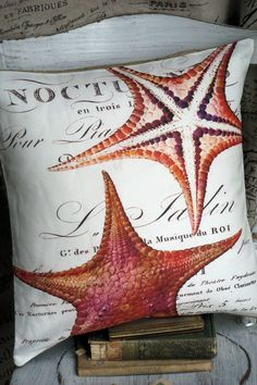 Throw Pillow Beach Decor...The Coral Starfish. $35.00, via Etsy.
