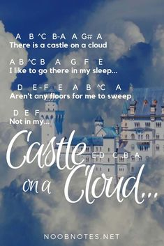music notes for newbies: Castle on a Cloud – Les Miserables. Play popular songs and traditional music with note letters for easy fun beginner instrument practice - great for flute, piccolo, recorder, piano and Piano Sheet Music Letters, Flute Sheet Music, Easy Piano Sheet Music, Music Sheets, Les Miserables Music, Best Piano, Def Not, Piano Lessons, Guitar Lessons