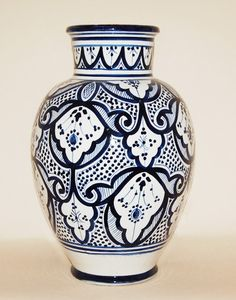 Moroccan Ceramic Pottery Vase in White with Safi Design