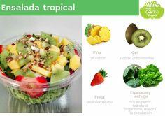 Una ensalada fresca y que se lleva bien con atún o pollo. Fresco, Fruit Salad, Potato Salad, Potatoes, Ethnic Recipes, Food, Lettuce, Chicken, Breakfast