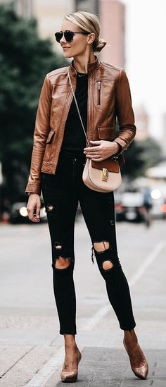 #fall #outfits Brown Leather Jacket + Black Destroyed Skinny Jeans