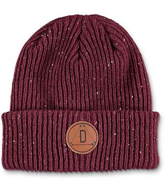 Update your modern style with the Porter burgundy fold over beanie from Dravus. This epple maroon beanie features a leather Dravus circular patch on the fold over cuff and is made for keeping your head warm in a stylish way.