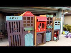 Cool Homemade Kid-Sized Kids Cardboard Town - YouTube