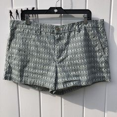 Gap Green Geo Print 100% Cotton Women's Mid Rise Casual Shorts Size 16 #Gap #CasualShorts #Summer