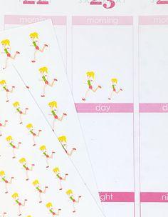 24 Blonde Running Girl Stickers – Perfect for Erin Condren, Plum Paper Planner, Inkwell Press, Filofax, Scrapbooking & More