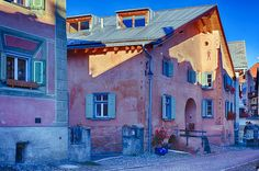 Engadine House in Guarda Medieval Houses, Explore, Mansions, House Styles, Home Decor, House Drawing, Mansion Houses, Decoration Home, Manor Houses