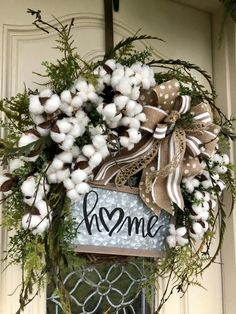 Front Door Decor Discover Cotton Wreaths for Front Door with Welcome or Home sign and decorative Burlap Bow Year Round door decor for home or business wall hanging Everyday wreath farmhouse wreath white cotton bolls wreath Front Door Decor, Wreaths For Front Door, Door Wreaths, Grapevine Wreath, Diy Wreath, White Wreath, Tulle Wreath, Burlap Wreaths, Holiday Wreaths