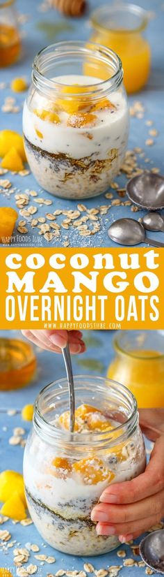 Coconut Mango Overnight oats is the perfect breakfast for people on the go, busy… Breakfast And Brunch, Breakfast On The Go, Perfect Breakfast, Vegan Breakfast, Breakfast Ideas, Vegetarian Breakfast Recipes, Going Vegetarian, Brunch Recipes, Crockpot