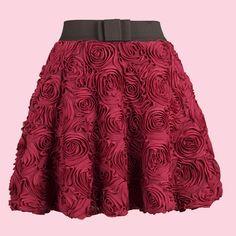 Wine Red Applique Bubble Skirt  io adesso la voglio