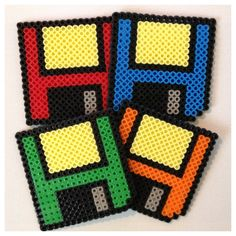 Floppy Disk Coasters (Set of 4) perler beads by K8BITHERO, can probably be done with crochet using sc